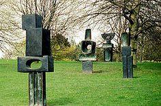 Barbara Hepworth Hepworth's Family of Man in bronze, 1970, at the Yorkshire Sculpture Park, U.K.