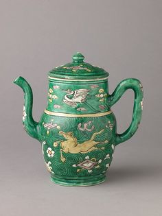 Covered ewer Chinese , Qing Dynasty, later Transitional period ca. 1644–83 Porcelain painted in enamels on the biscuit.