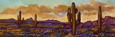 "Vibrant Desert by Maia Leisz Oil ~ 8"" x 24"" www.maialeisz.com"