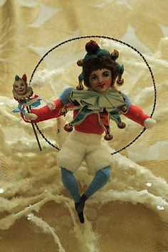 COTTON ORNAMENT PATRIOTIC BOY JESTER ON A WIRE SWING by JERRY ARNOLD, 2010 | eBay