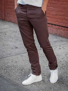 brown slacks white shoes