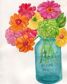 Zinnias in Canning Jar Watercolor Painting, Flowers artwork , 8 x 10  original