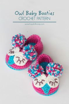 Owl Baby Booties - Free Crochet Pattern on Hopeful Honey in 2 sizes (0 - 6 months old and 6 - 12 months old)