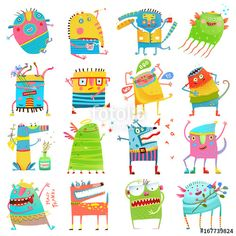 Vektor: Cartoon colorful Monsters for Kids Big Collection