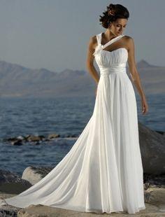 (NO.004373)Empire Halter Court Trains Sleeveless Chiffon Beach Wedding Dress For…