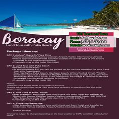 BORACAY LAND TOUR w/ PUKA BEACH Minimum of 2 persons  For more inquiries please call: Landline: (+63 2) 8 282-6848 Mobile: (+63) 918-238-9506 or Email us: info@travelph.com #Boracay #Philippines #TravelPH #TravelWithNoWorries Boracay Philippines, Tours, Day, Beach, Travel, Viajes, The Beach, Beaches, Destinations