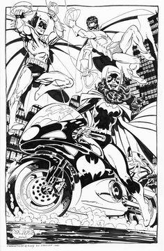 Batgirl,Batman & Robin commission by John Byrne. (2007)