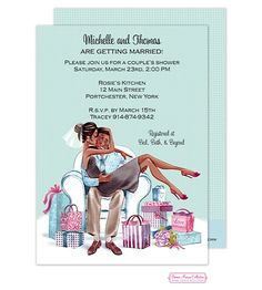 Bonnie Marcus | Couples Showers | Kissing Couple (Multicultural) Invitation (BM) | The Desktop Diva Stationery PrintsWell Store