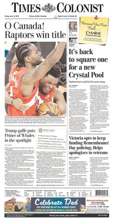 For the first time ever, a team north of the border has been crowned NBA champions after the Toronto Raptors dethroned the Golden State Warriors in Game 6 of the NBA Finals. Toronto Raptors, Newspaper Front Pages, Kyle Lowry, Oracle Arena, Nba Champions, Golden State Warriors, Wall Collage, Champs, Homework