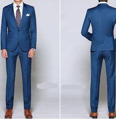 Aliexpress.com: Kaufen Sie custon herren anzug set hochwertige marineblau hochzeitskleid männer slim anzüge männlich jacke + hose Größe von zuverlässigen Lieferanten auf ONE USD.