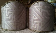 Pair of  Wall Sconce Clip-On Shield Shades Fortuny Fabric Platinum & Silvery Gold Simboli Pattern Mini Lampshade - Handmade in Italy by OggettiVeneziani on Etsy