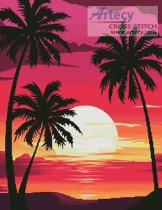 Sunset with Palm Trees cross stitch pattern.