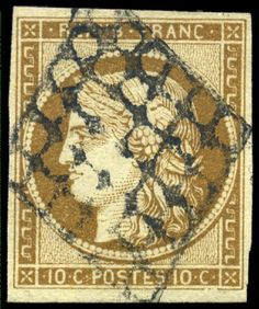 France, Michel 1b. 10 C. Ceres olive brown, four sides full to enormous margins outstanding quality with centered lozenge catalogue value: 500