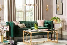 Get inspired by Glam Living Room Design photo by Joss & Main. Joss & Main lets you find the designer products in the photo and get ideas from thousands of other Glam Living Room Design photos. Blush Living Room, Teal Living Rooms, Living Room Green, Formal Living Rooms, Living Room Sofa, Interior Design Living Room, Living Room Designs, Interior Paint, Kitchen Interior