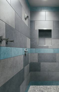 Showered in cool hues... #tile #crossville #color - I like the greys and blues, but maybe do the blues in the smaller class tile mosaic that we like.  I also really like the vertical strip for the mosaic like you have pinned elsewhere