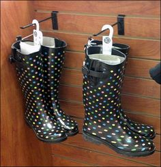 Just in time for the rainy season, Rubber Galoshes sprout from Slatwall Hooks. The boots sport Polka Dots vaguely reminiscent… Clothes Clips, Rain Go Away, Going To Rain, Slat Wall, Store Fixtures, Rainy Season, Rubber Rain Boots, Polka Dots, Hooks