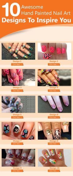 10 Amazing Hand Painted Nail Art Tutorials With Detailed Steps-- thinking of nails for Wicked Witch. :) @Shrek the Musical