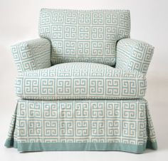 Quatrine Custom Furniture - Sienna Chair. Slipcovered in a geometric print with a banding at the bottom of skirt. #slipcover #green #aqua #pattern #washable