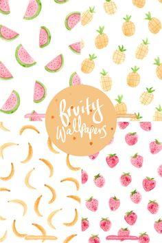 Fruity iPhone and desktop wallpaper. Perfect for spring! Watercolor Desktop Wallpaper, Images Wallpaper, Cute Wallpapers, Wallpaper Backgrounds, Desktop Wallpapers, Forest Wallpaper, Wallpaper For Your Phone, Computer Wallpaper, Pattern Art