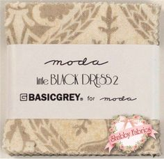 """Little Black Dress 2  Mini Charm Pack by BasicGrey for Moda Fabrics: Little Black Dress 2 is a neutral collection by BasicGrey for Moda Fabrics.  100% cotton.  This mini charm pack contains 42 squares, each measuring 2 1/2"""" x 2 1/2""""."""