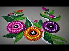 Easy Flower Design Rangoli Using Spoon| Creative Rangoli by Shital Mahajan. - YouTube