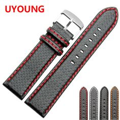 18mm 20mm 22mm 24mm Black Red Stitching Carbon Fiber Leather Watch Band strap sport♦️ B E S T Online Marketplace - SaleVenue ♦️👉🏿 http://www.salevenue.co.uk/products/18mm-20mm-22mm-24mm-black-red-stitching-carbon-fiber-leather-watch-band-strap-sport/ US $14.90