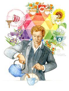 The Mentalist, Patrick Jane tea fan art. The Mentalist, Patrick Jane, Simon Baker, Mejores Series Tv, Detective, Tea Quotes, Cuppa Tea, Tea Art, Papi