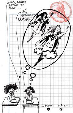 """Página 6 del #fanzine """"Tu Lucha Es Nuestra Lucha"""" para el #1deMayo, en el día internacional de los trabajadores. Las super señoritas y docentes salen a luchar > http://www.laizquierdadiario.com/Tu-lucha-es-nuestra-lucha #LaCajaRoja #Arte #Historieta #Comic #DiaDelTrabajador"""
