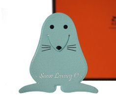 BNIB HERMES LEATHER BABY BLUE SEAL PIKABOOK CHARM BOOKMARK PAGE MARKER - RARE!