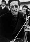 FRANCE. Bram. March, 1939.  Former member of the Barcelona Philharmonic at a concentration camp for Spanish refugees.