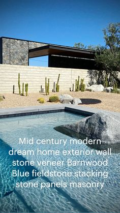 Stone Fireplace Surround, Natural Stone Fireplaces, Natural Stone Veneer, Stone Landscaping, Modern Landscaping, Outdoor Stone, Outdoor Pool, Modern Pools, Mid-century Modern
