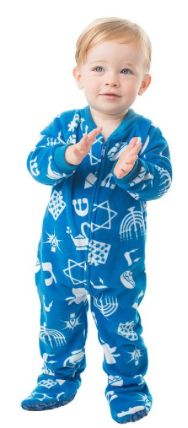 First Hanukkah Gifts for Baby--Hanuukah Fun Baby Footed Fleece Pajamas at Amazon for $29.99, on sale for $15.95!