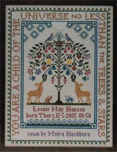 Moira Blackburn Samplers Tree of Life - Cross Stitch Pattern. You are a child of the universer, no less than the trees & stars. Has room for a baby's name and d