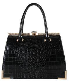 Diophy Womens Faux Leather Animal-print Kiss Lock Structured Top Handles Tote Handbags CC-3355 Black: Handbags: Amazon.com