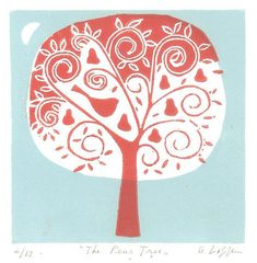 The Pear Tree - Matted Original Linocut Print Limited Edition of 12 Only (NOT a digitally reproduced print. )  After drawing, the lino plate