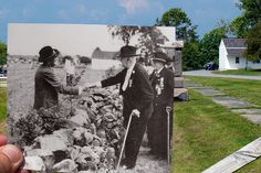 In 1938 at the 75th Anniversary of the battle of Gettysburg vets shook hands across the wall. We aligned our photo with the existing wall and the First Delaware Volunteer Infantry Regiment monument south of the Brian Farm on Hancock Avenue. Photo courtesy of the Gettysburg National Military Park.