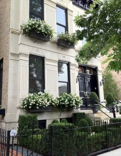 A Lincoln Park, Chicago townhouse. Beautiful boxwoods, window boxes and architecture...