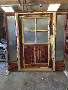 Cedar exterior entry door with sidelights. Cedar Table, Entry Door With Sidelights, Exterior Entry Doors, Log Furniture, Wood Creations, Rain, Woodworking, Decor Ideas, Glass