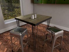 Bespoke Hairpin legs, made for our cafe tables, reclaimed wooden tops.