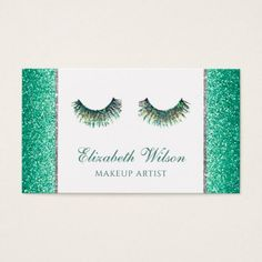 mermaid faux teal glitter lashes makeup artist business card - glitter gifts personalize gift ideas unique