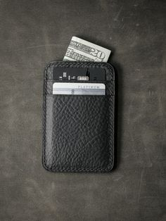 """Our uber elegant """"Maddox"""" pebbled matte black slim wallet is just what you need for your every day essentials. Slim Leather Wallet, Handmade Leather Wallet, Leather Purses, Slim Wallet, Men Wallet, Salvatore Ferragamo, Crea Cuir, Cuir Vintage, Minimalist Bag"""