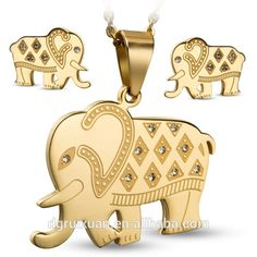 2015 Latest Design Jewelry Gold Plated Cute Elephant Shape Stainless Steel Jewelry Sets