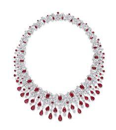 Burma Ruby and Diamond Necklace
