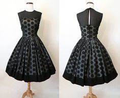 Hey, I found this really awesome Etsy listing at https://www.etsy.com/listing/223959362/adorable-1950s-black-chiffon-polka-dot