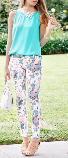 Fun floral pants, cute top, great heels, pretty handbag,  fun jewelry. Great Spring/Summer ensemble!