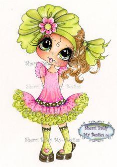 INSTANT DOWNLOAD Digital Digi Stamps Big Eye Big Head Dolls Bestie New Bestie Remixwxy My Besties By Sherri Baldy