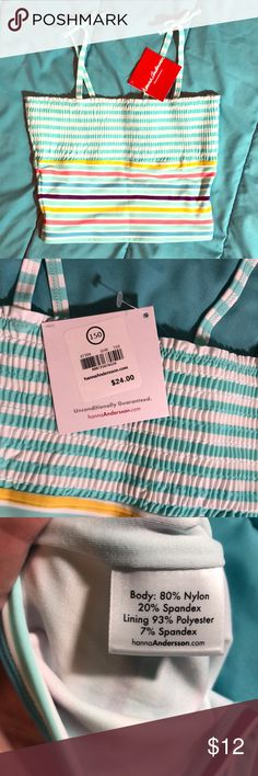Hanna Andersson Swimsuit Top Size 150 New Hanna Andersson Swimsuit top. Aqua/purple/coral/yellow/blue/white stripe. These are GREAT swimsuits! My girls have worn HA suits since they were babies. Size 150 (about 12/14). Smoke free home. Hanna Andersson Swim Bikinis