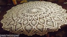 """Vintage 40"""" White Crochet Tablecloth BEAUTIFUL Look U626 FREE SHIPPING  All Handmade 1930's"""