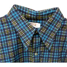 Vintage 1970s Long Sleeve Cotton Plaid Shirt Unworn Size Large from toinetterl on Ruby Lane