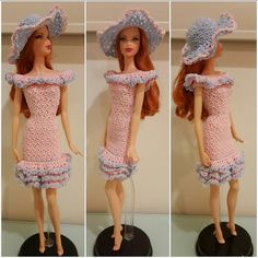 Barbie Flounce Off-Shoulder Ruffled Dress With Hat (Free Crochet Pattern) | FeltMagnet